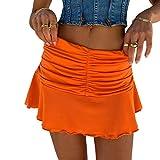 Meiweileya Women Ruched Ruffle Skirt Solid Stretch Pleated Sexy Mini Skirt Tennis Skirt for Girls (Orange, S)