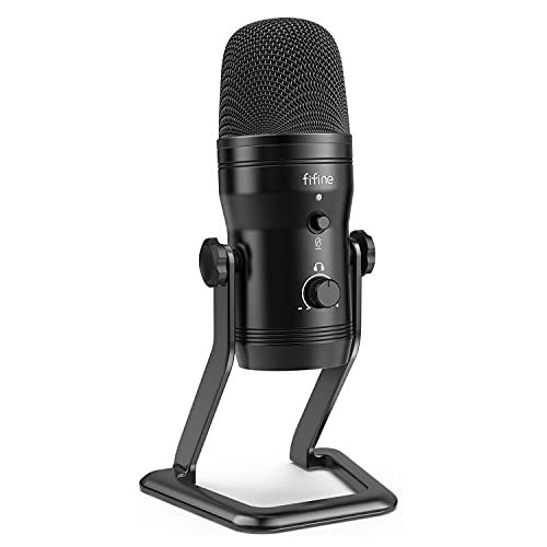 FIFINE USB Mikrofon Computer, Kondensator Podcast Mikrofon für Computer PC, PS4, Mac mit Stummschalttaste und Monitor - K690