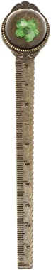 AKOAK 2 Pcs Retro Dry Flower Metal Bookmark Creative Bronze Round Bookmark with 4.72 Inch Ruler Marker Bookmark
