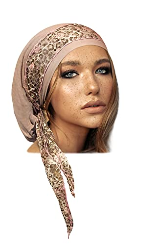 Beige Taupe Headscarf Tichel Head wear for Women Pink Floral Lace (Beige Headscarf Pink Cheetah Floral lace)