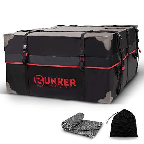 BUNKER INDUST Car Rooftop Cargo Carrier Bag, 20 Cubic Ft Heavy Duty RoofBag Waterproof Luggage Van...