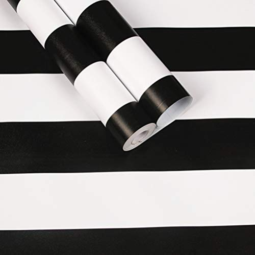Amao Classic Black & White Striped Wallpaper Peel and Stick Self Adhesive Paper Vinyl Film for Furniture Countertops Wall Decor 17.7''x79''