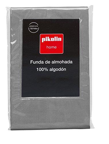 Pikolin Home - Funda de almohada 100% algodón, transpirable y de 140 hilos calidad extra en color gris