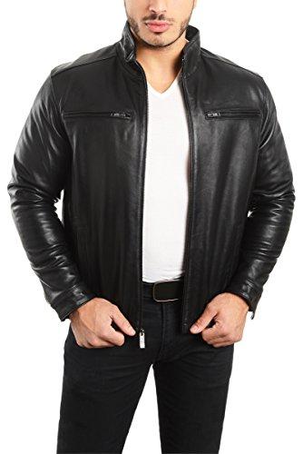 REED EST. 1950 Men's Jacket Genuine Lambskin Leather Stand UP Collar Winners Coat (3X Tall, Black)