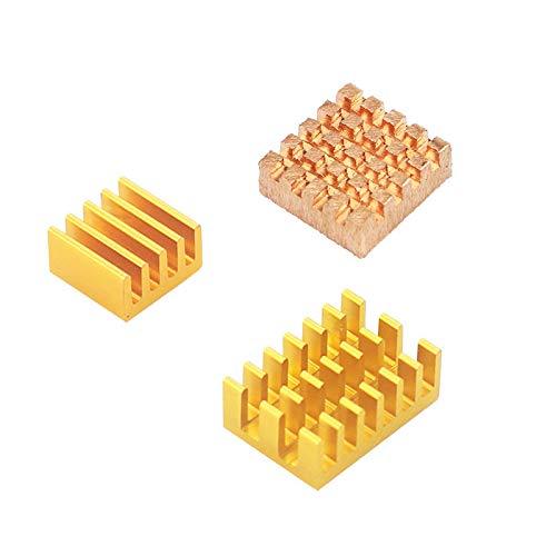 weichuang Accesorios electrónicos 1 x cobre + 2 x radiador de aluminio dorado con pegamento trasero para RPi Case partes electrónicas Accesorios electrónicos