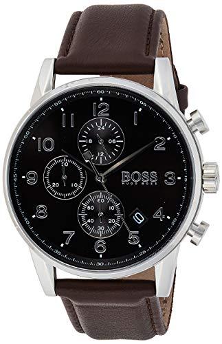 Hugo Boss Herren Quarz Armbanduhr mit Lederarmband 1513494