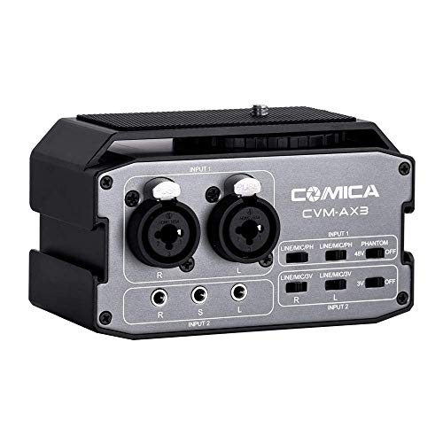 Comica CVM-AX3 Audiomixer Adapter Vorverstärker Dual XLR / 3,5 mm / 6,35 mm Port Kamera Mixer für Canon Nikon Sony Panasonic DSLR Kamera Camcorder (Unterstützung Echtzeit-Überwachung)