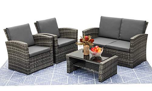 LayinSun 4 Piece Outdoor Patio Furniture Sets, Wicker Conversation Sets, Grey Rattan Sofa Chair with Cushion for Backyard Lawn Garden