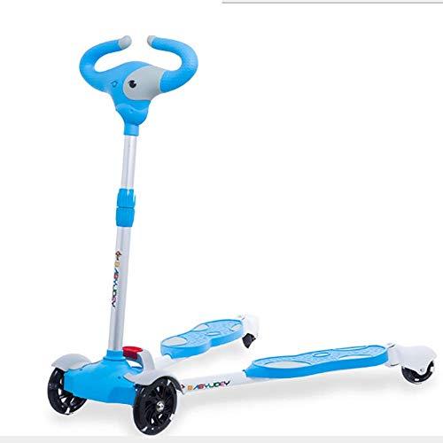 Kinder-Roller 4 Räder mit Musik faltbar und beleuchtet breastroke Fußroller Vier PU Räder Roller Schere Auto Spielzeugauto Schaukel Leichtbau Geschenke geeignet Alter 3+ (Color : Blue)
