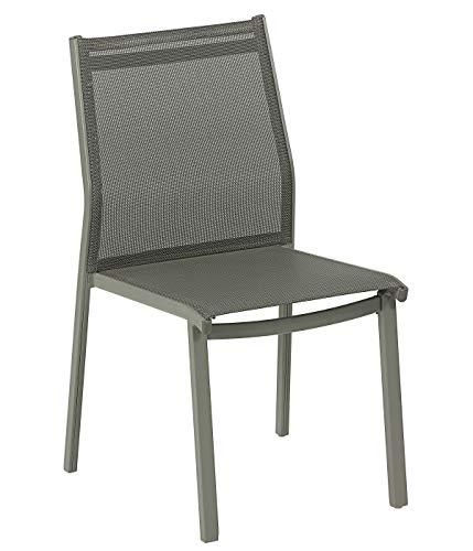 Dehner Stapelstuhl Vigo, ca. 87 x 50 x 57 cm, Textilene/Aluminium, Grau Silla apilable, Aluminio, Gris