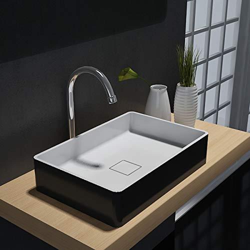 Opzet waskom AQUA van massief steen (Solid Stone) - PB2011B - 48 x 32 x 10,5 cm - kleur optioneel, Minerale wastafel:Zwart/wit mat