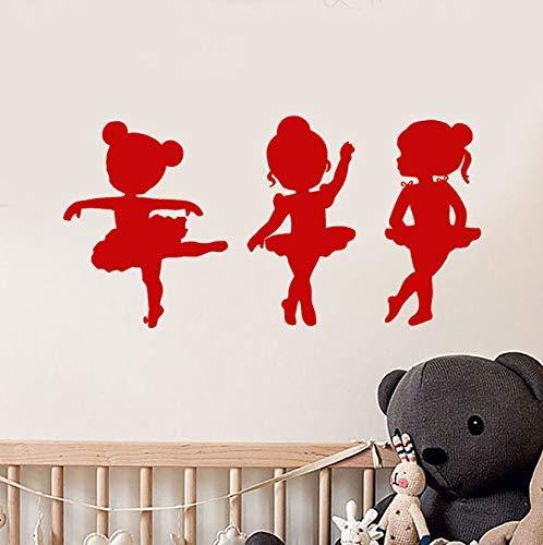 Decoración de arte de dibujos animados Vinilo Tatuajes de pared Niñas Ballet Bailarina escolar Bailarina Pegatinas de pared para habitaciones de niños Vinilos infantiles 80 * 41 cm