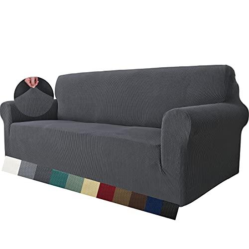 MAXIJIN Super Stretch Couch Bezug für 3-Sitzer Couch, 1-teilige Universal-Sofabezüge Wohnzimmer Jacquard Spandex Möbelschutz Hunde Haustierfreundliche Couch Schonbezug (3 Sitzer, Grau)