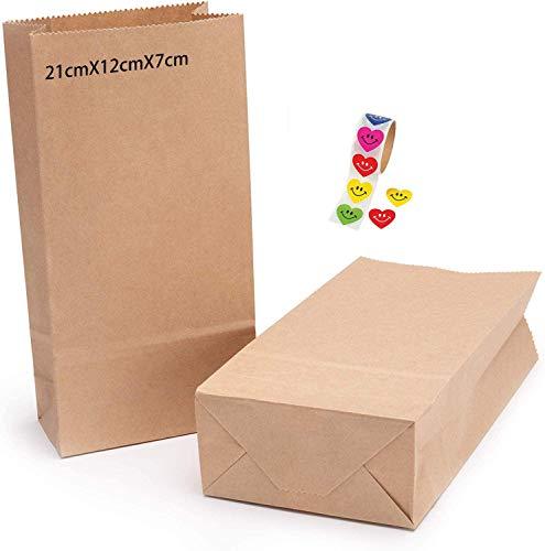 100 Stuck Papiertüten Braun,Kraftpapiertüten Braun,Papierbeutel Kraftpapier,Kraftpapiertüten,Tütchen Papier,Kraft Geschenkpapier,Bodenbeutel Papier,Papiertüten Tüten