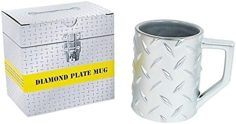 Silver Diamond Plate Construction Mug Coffee Cup, Mr. Fix It DIY Man Gift by Plug