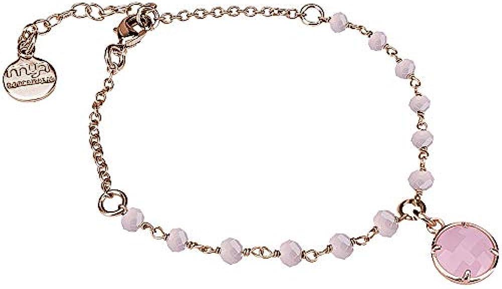 Boccadamo, bracciale per donna,in bronzo placcato oro rosa con cristalli rosa milk Ik/Br29
