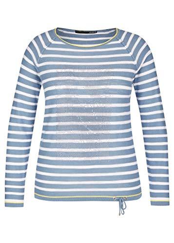 lecomte Damen Pullover mit Ringelmuster und Ziersteinen