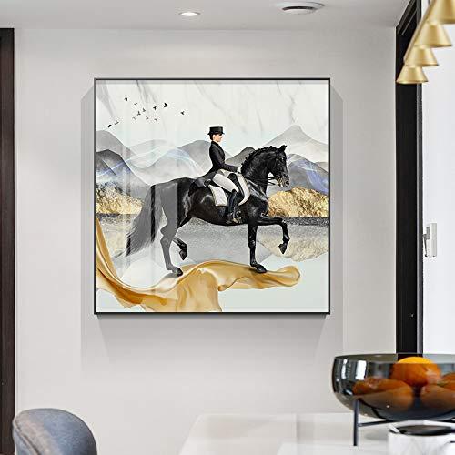QAZEDC canvas schilderij wandschilderijen van de zwarte ridder voor de paarden in de woonkamer te voet op de gouden band canvas kunstplakkaat schilderijen schilderijen huis decoratie