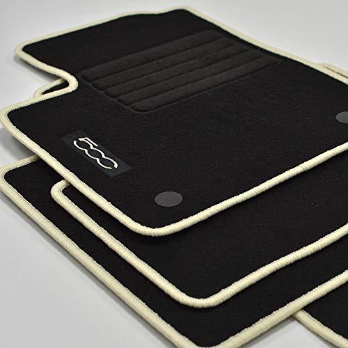 Mattenprofis Velours Logo Fußmatten für FIAT 500 + 500 C Cabrio ab Bj. 2013 Crema