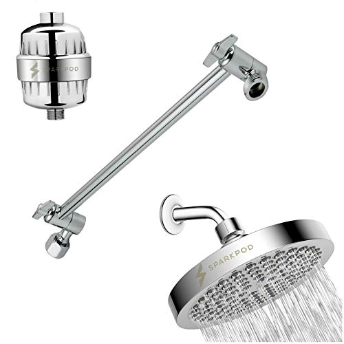 "SparkPod Chrome Rain Shower Head Chrome with 12-stage proprietary filter and Matching 11"" Shower Arm Extension"