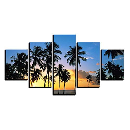 XXSCZ 5 Canvas foto's Home Decor gedrukte muurkunst foto's 5 stuks zonsopgang Break Of Day Landschap Canvas Schilderij Palmen Poster Home Decor Framework 30 x 40 30 x 60 30 x 80 cm met frame.