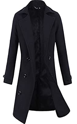 Lende Men's Trench Coat Winter Long Jacket Double Breasted Overcoat,Black Large by