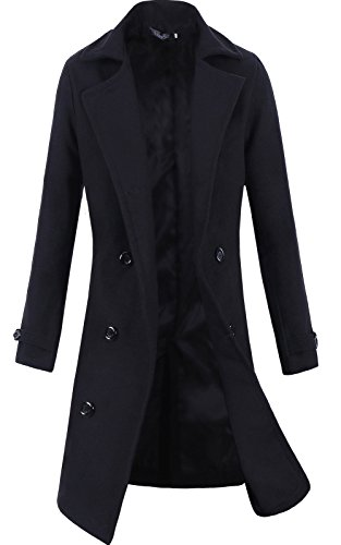 Lende Men's Trench Coat Winter Long Jacket Double Breasted Overcoat,Black,S