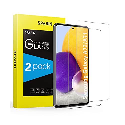 SPARIN Vetro Temperato per Samsung Galaxy A72   A71, 2 Pezzi Pellicola Protettiva Samsung A71   A72 con HD Chiaro, Facile da installare