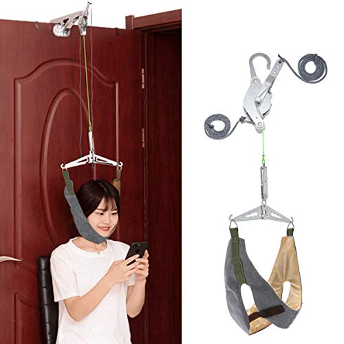 DYHQQ sobre la Puerta Unidad de Conjunto de Dispositivo de tracción Cervical para Cuello, Hombro, Abrazadera, Alivio del Dolor de Cabeza para el hogar