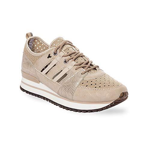 Zapatilla Sneaker Yumas Dasha BEIG Fabricado en Nylon Perforado y Microfibra Transpirable Plantilla Confort Látex para Mujer