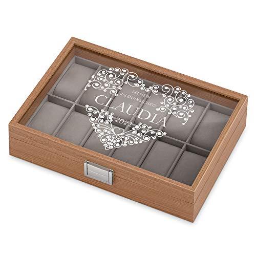 Murrano Uhrenbox mit Gravur für 12 Uhren - 31x21x7,5cm - Uhrenkasten aus Holz - Braun - Geschenk zum Geburtstag für Damen - Herz
