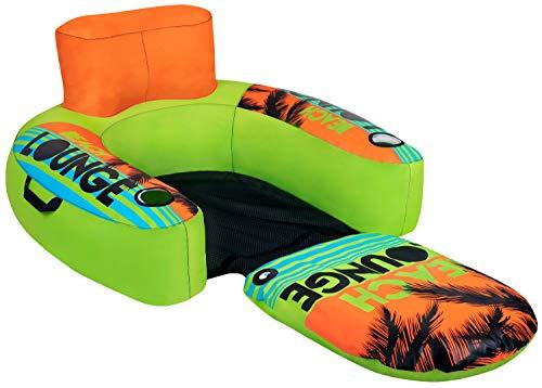 MESLE Beach Lounge 1, aufblasbarer Schwimm-Sitz, grün-orange-blau, Wasser-Sessel, ausklappbar, Air-Lounge, Getränkehalter, 92 cm x 97 cm, Strand-Sitz, Zwei Hanteln, Luftkissen