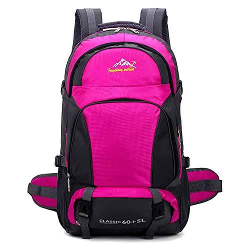 Outdoor Hiking Backpack 65L, Waterproof Lightweight Trekking Rucksack Climbing Fishing Traveling Backpack Hiking Daypack for Men Women Unisex Rucksack 60L+5L,Orange GAGEAA (Color : Pink)