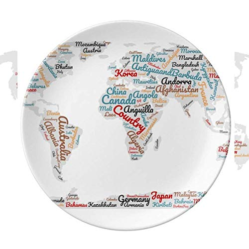 Global Map Country Geography Wordcloud Piatto decorativo in porcellana Salver Stoviglie