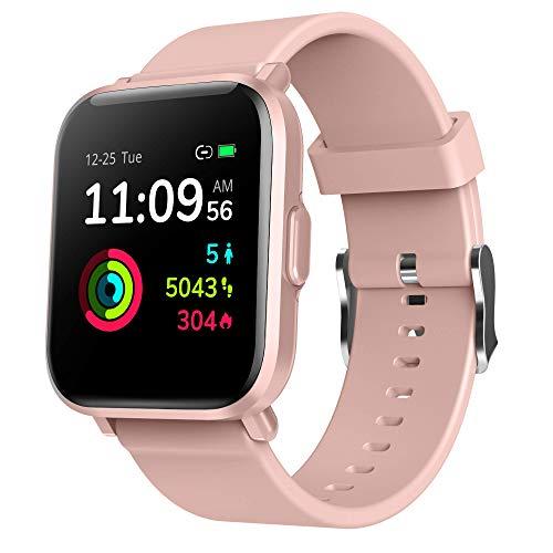 Reloj Inteligente Mujer Rosa, GRDE Smartwatch Fitness 24H Monitor de Oxigeno(SpO2)/Ritmo Cardíaco/Sueño, 5ATM Impermeable Reloj GPS Running con 18 Modo Deportivos, Reloj Pantalla Táctil con Podómetro