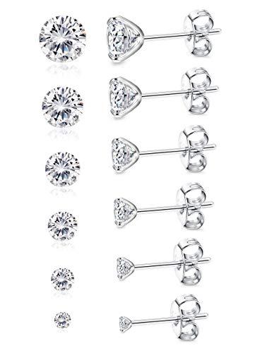 BESTEEL 6 Pare Plata de Ley 925 Pendientes Stud para Hombre Mujer Niña con Circonita Pendientes Aretes Joyería Elegante, 3-8 MM