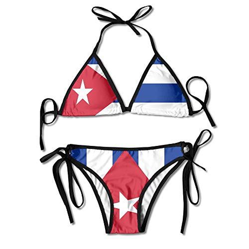 Bandera de Cuba Bikini Sexy de Boxeo Mujeres Halterneck Top y Conjunto Trajes de baño Playa Natación