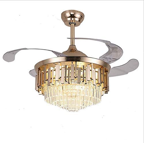 """high quality Ruiwing 42"""" Luxury Ceiling Fan with Light Contemporary Chic Crystal Chandelier Fan Polished wholesale Gold 2021 Retractable Ceiling Fans Light LED 3 Color Setting (K-Gold) sale"""