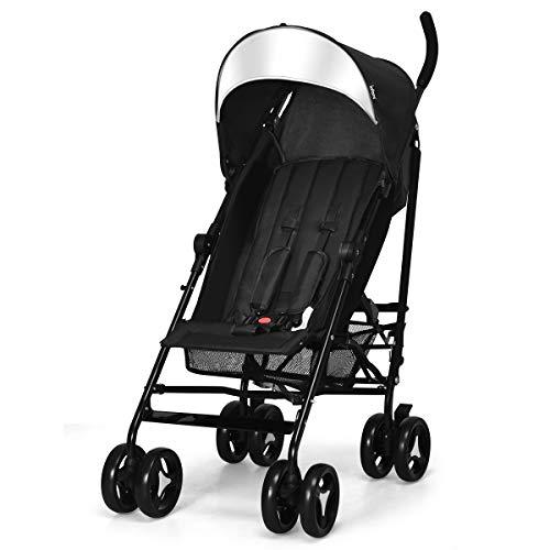 INFANS Lightweight Baby Umbrella Stroller, Foldable Infant Travel Stroller with Carry Belt, 4 Position Recline, Adjustable Backrest, UV Protection Canopy, Cup Holder, Storage Basket (Dark Black)