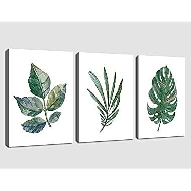 arteWOODS Canvas Art Simple Life Green Leaf Painting Wall Art Decor 12  x 16  3 Pieces Framed Canvas Prints Watercolor Giclee with Black Border Ready to Hang for Home Decoration