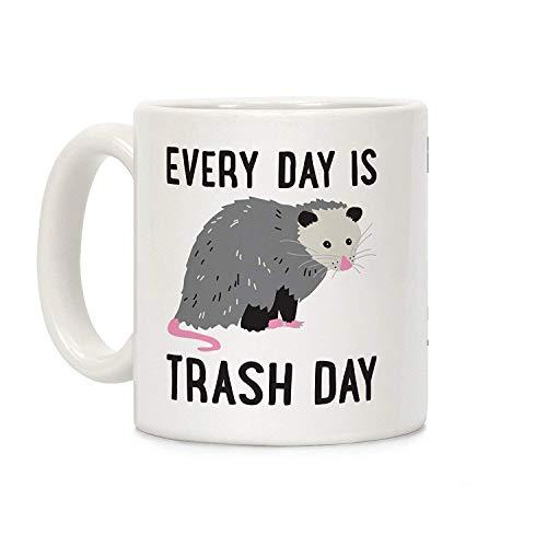 Tazas de café con texto en inglés «Every Day is Trash Day», taza de cerámica blanca de 325 ml, para mamá, para papá