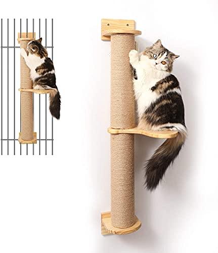 FUKUMARU Cat Activity Tree with Scratching Posts, Wall Mounted Jute Scratcher Pine Hammock