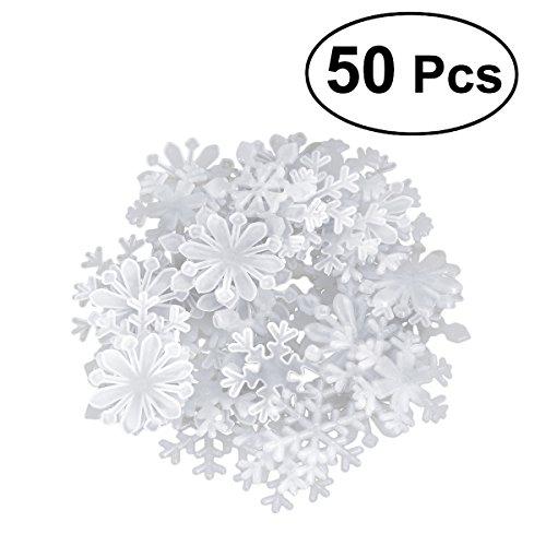 OULII 50 Stück Leuchtsticker Weihnachten Leuchtende Schneeflocken 3D Wandtattoo Wandaufkleber Fluoreszierende Wandsticker Aufkleber für Schlafzimmer Kinderzimmer (Weiß)