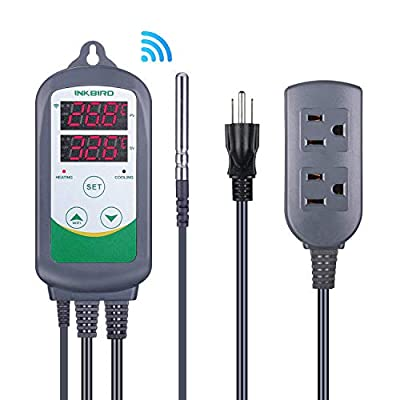 Inkbird WiFi Temperature Controller ITC308 Reptile Freezer Thermostat Digital Heating and Cooling Heater Cooler Greenhouse Plug Outlet 2 Stage 1100W 110V