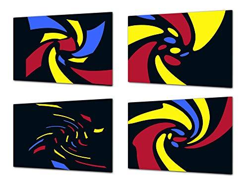 Concept Crystal Lot de Quatre Planches à découper décoratives en Verre – Plateaux de Service – Plateaux à Fromage ; MD09 Série de Peinture Abstraite