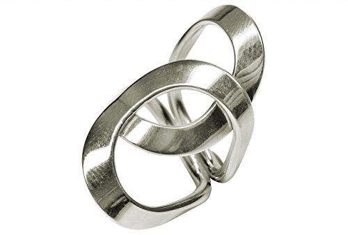 SILBERMOOS XL XXL Ringe in großen Größen Damen Ring überlappende Kreise breit glänzend offen handgeschmiedet Größe 64, 66. 68. 70 Sterling Silber 925, Größe:70 (22.3)