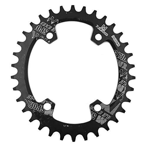 JDV CNC 96BCD 30T 32T 34T 36T 38T Piñón redondo de aleación de aluminio MTB bicicleta de carreras ultraligero (38T-Round,negro)
