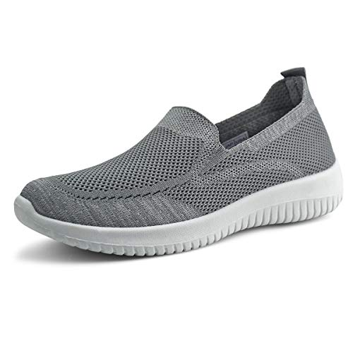JABASIC Women Slip On Knit Loafers Comfortable Casual Walking Shoes (8,Grey)