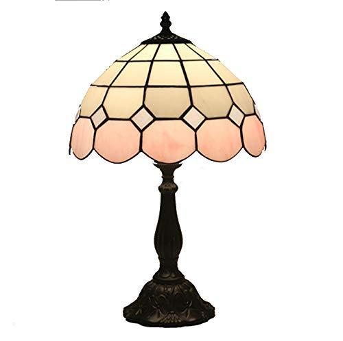 Yjmgrowing eenvoudige Tiffany-stijl tafellamp in 12-inch bont glazen slaapkamer naast bureaulampen met lampenkap in mediterrane stijl werkkamer met nachtverlichting, E27, 110-220V