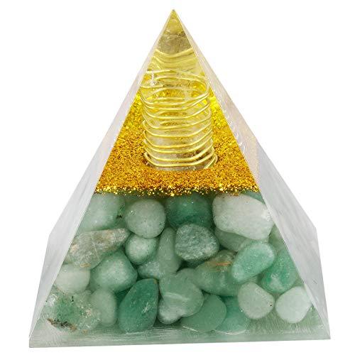 mookaitedecor Heilstein Kristall Pyramide mit Grünem Aventurin, Positive Energiepyramide für EMF Schutz Meditation/Yoga/Heilchakra/Wohnkultur 60mm